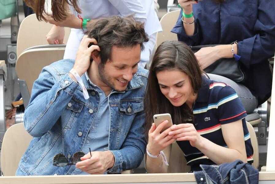 Vianney et sa compagne Catherine Robert, en juin 2019, à Roland Garros