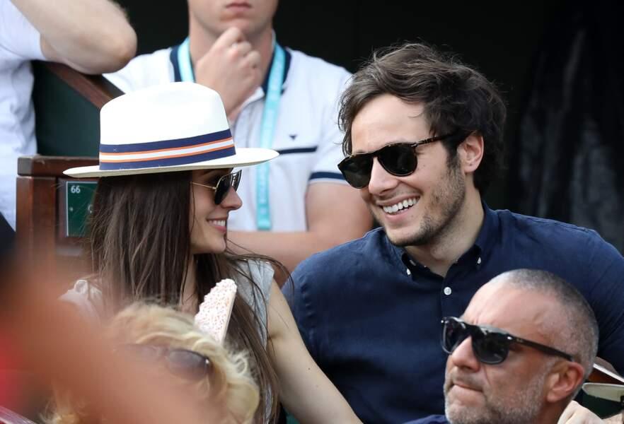 Le chanteur Vianney et sa compagne Catherine Robert  dans les tribunes des internationaux de tennis de Roland Garros à Paris, France, le 3 juin 2018