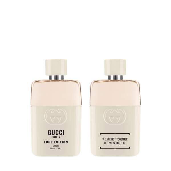 Parfum pour femme 50ml et 90ml, 73€ et 110€, GUCCI GUILTY LOVE EDITION, disponible en exclusivité aux Galeries Lafayette.