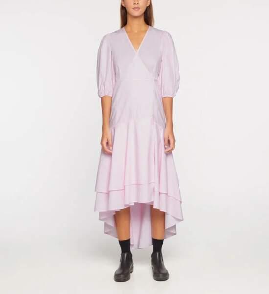 Robe portefeuille longue fleurie coton organique, 245€, Ganni