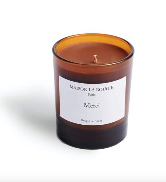 Bougie parfumée Merci, 200g, 49.90€, Maison La Bougie aux Galeries Lafayette,