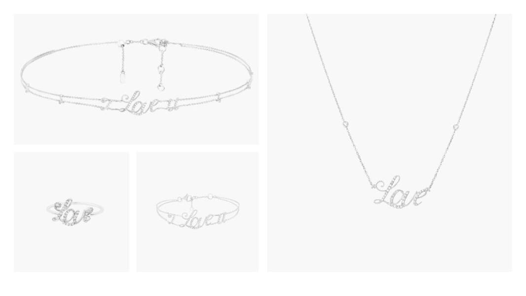 Bague Love, 595€, Bracelet I love you 1580€, Choker I love you, 2280€, Collier love, 1380€, Djula