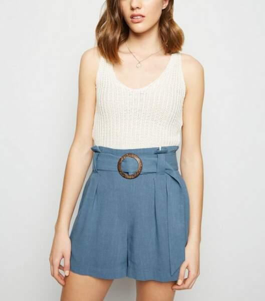 Short bleu pâle effet lin à boucle - New Look, 23€