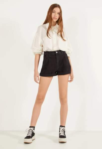 Short en jean noir - Bershka, 20€