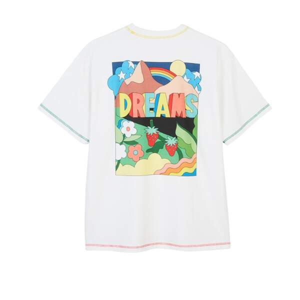 Tee-shirt imprimé blanc 185€, Mira Mikati x Dabsmyla exclusivité aux Galeries Lafayette label Go for Good