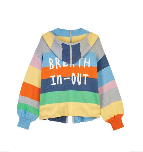 Hoodie rayé broderie dos, multicolore 525€, Mira Mikati x Dabsmyla exclusivité Galeries Lafayette exclusivité Go for Good