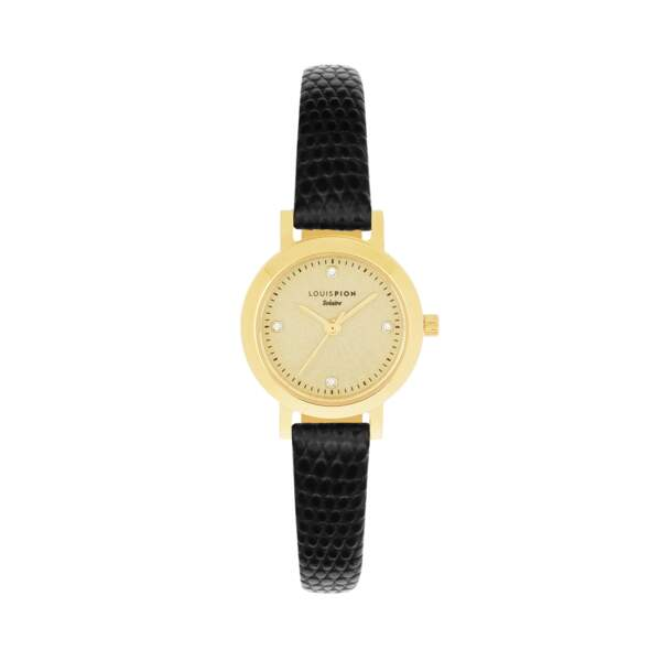 Montre bracelet cuir à mouvement solaire 25 mm, disponible aux Galeries Lafayette, 139€, Louis Pion label Go for Good