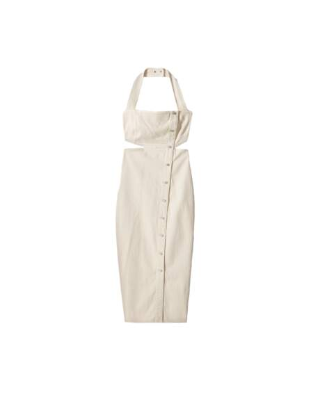 Robe blanche dos nu, disponible aux Galeries Lafayette, 475€, Nanushka label Go for Good