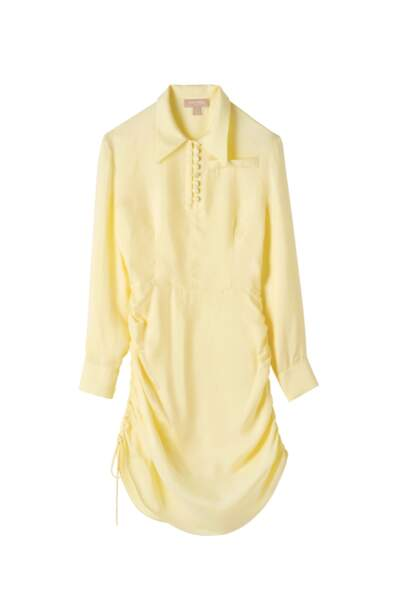 Robe jaune en soie, disponible aux Galeries Lafayette, 690€, Materiel label Go for good
