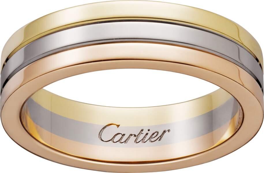 Alliance en or, jaune, gris et rose, 1 850 €, Cartier.