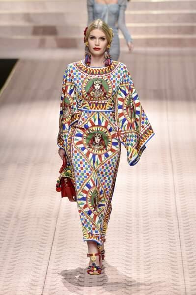Kitty Spencer, fille du comte Charles Spencer et cousine de William et Harry, défile également régulièrement pour les créateurs Dolce & Gabbana, comme ici en septembre 2018 pour leur collection de prêt-à-porter printemps-été 2019.