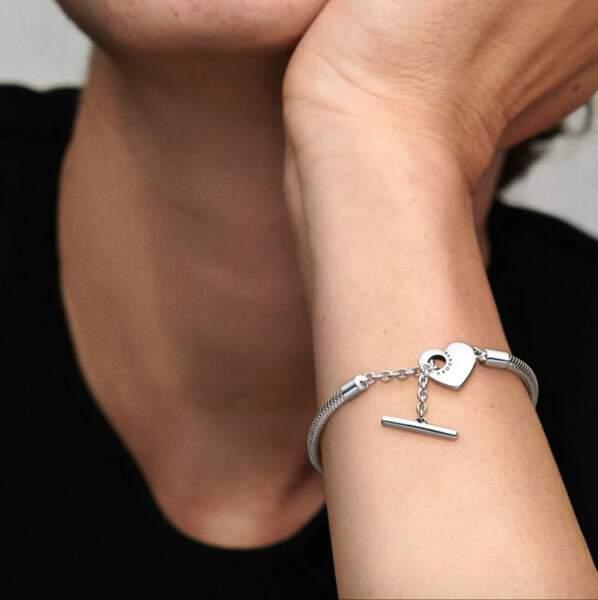 Bracelet Maille Serpent fermoir en T Cœur Pandora Moments, 69,00 €, Pandora