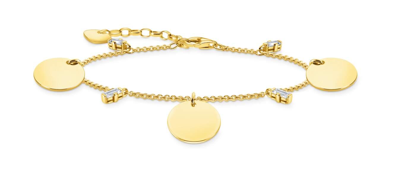 Bracelet avec trois médailles or, 239€, Thomas Sabo