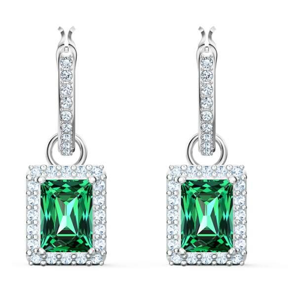 Boucles d'oreilles Angelic Rectangular, vert, métal rhodié 89€, Swarovski