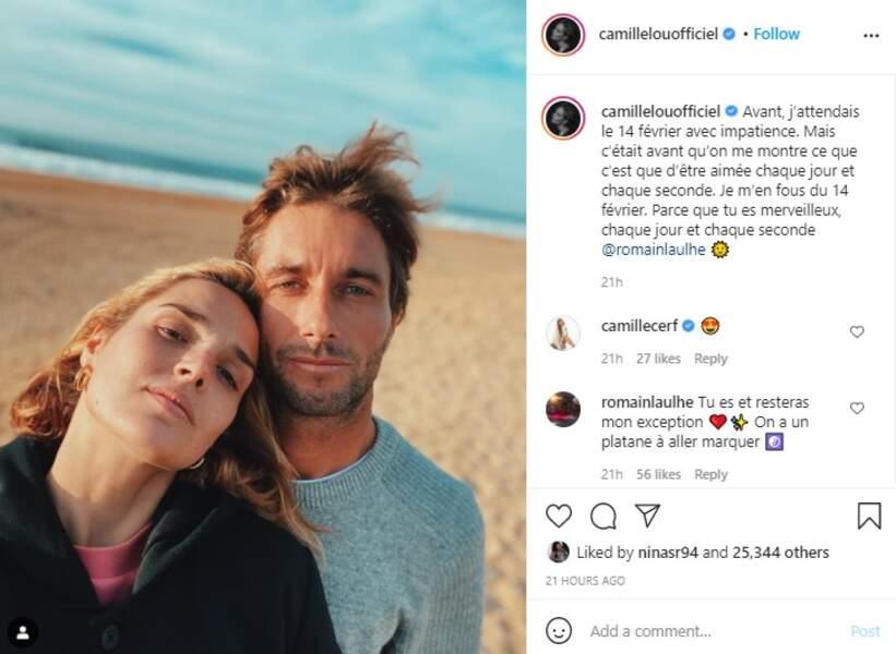 Camille Lou et son compagnon Romain Laulé ont fêté la Saint-Valentin ce dimanche 14 février