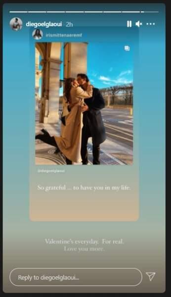 Diego El Glaoui a rendu hommage à Iris Mittenaere dans sa story Instagram ce dimanche 14 février