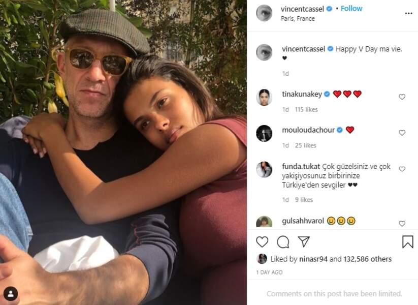 Vincent Cassel et Tina Kunakey en amoureux pour la Saint-Valentin ce dimanche 14 février.