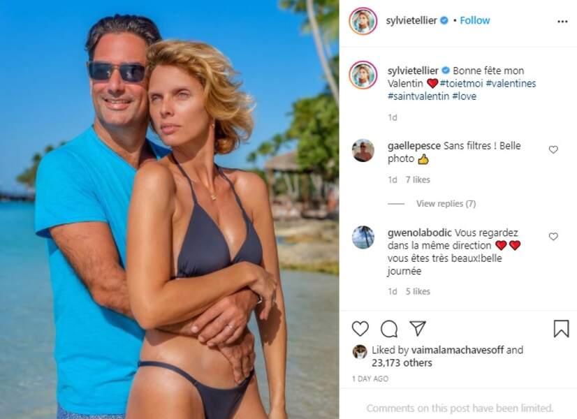 Sylvie Tellier est comblée dans les bras de Laurent pour la Saint-Valentin ce dimanche 14 février