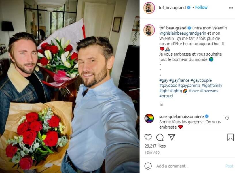 Christophe Beaugrand et son mari Ghislain Gerin sur Instagram ce dimanche 14 février