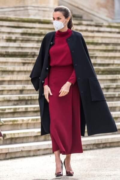 """La reine Letizia d'Espagne a visité l'exposition """"Concepción Arenal, la passion humaniste"""", à Madrid, le 16 février 2021."""