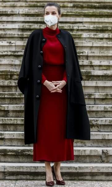Pour célébrer le 200ème anniversaire de la naissance de Concepción Arenal, la reine Letizia d'Espagne s'est rendue à une rétrospective sur la poète espagnole, ce 16 février 2021.