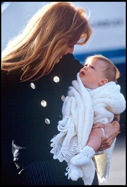 Sarah Ferguson et sa fille, la princesse Eugenie en 1990.
