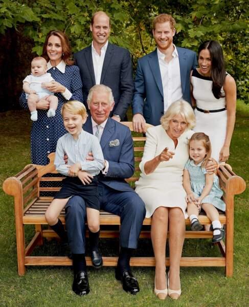 Photo de famille pour les 70 ans du prince Charles dans le jardin de Clarence House à Londres, Royaume Uni, le 14 novembre 2018.