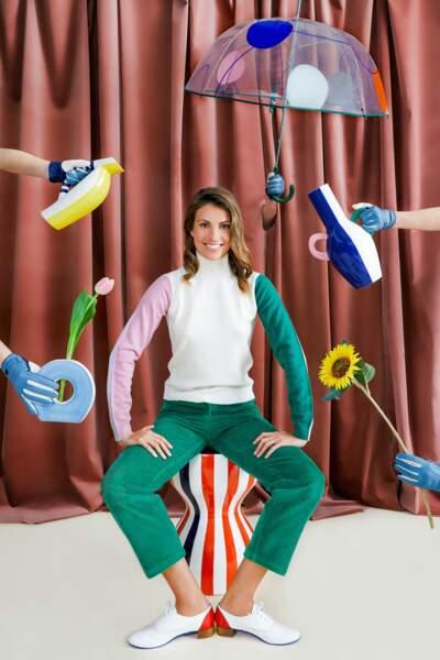 Silhouette DA/DA Diane Ducasse x Monoprix (pull col roulé 69 €,  pantalon en velours 55 €, Derby 75 €)