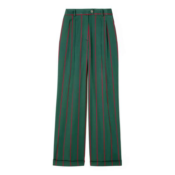 Pantalon costume à rayures vert et rouge DA/DA Diane Ducasse x Monoprix, 55 €