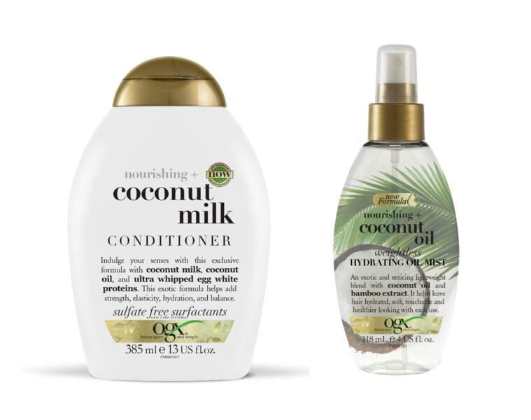 Coconut Milk Conditioner et Brume d'Huile Hydratante, Coconut Oil, OGX, 10,70€ et 12,99€