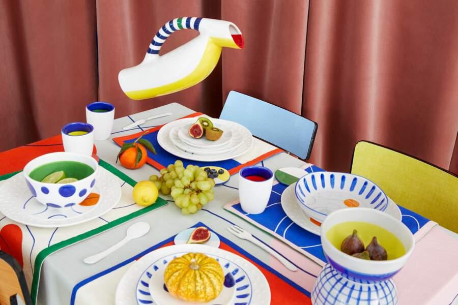 Service de table DA/DA Diane Ducasse x Monoprix (tasse 5 €, nappe 40 €)