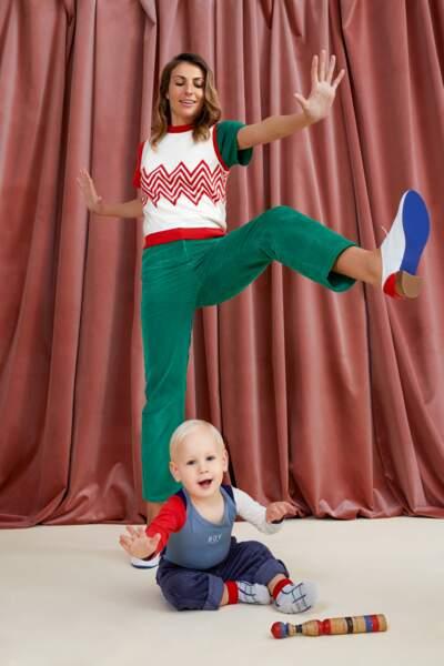 Look mère et fils DA/DA Diane Ducasse x Monoprix (pull sans manche 55 €, pantalon 55 €, derby 75 € / body bébé 16 €, pantalon bébé 25 €, chaussettes bébé 3,50 €)