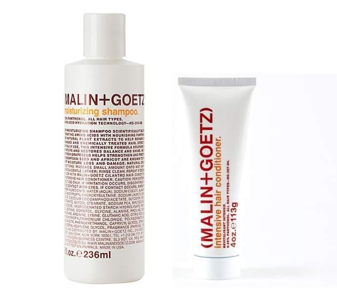 Shampoing hydratant et intensive hair conditioner, Malin+Goetz, 23€