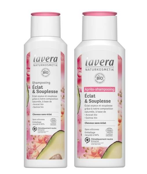 Shampoing et Après shampoing Eclat & Souplesse, Lavera, 6,90€