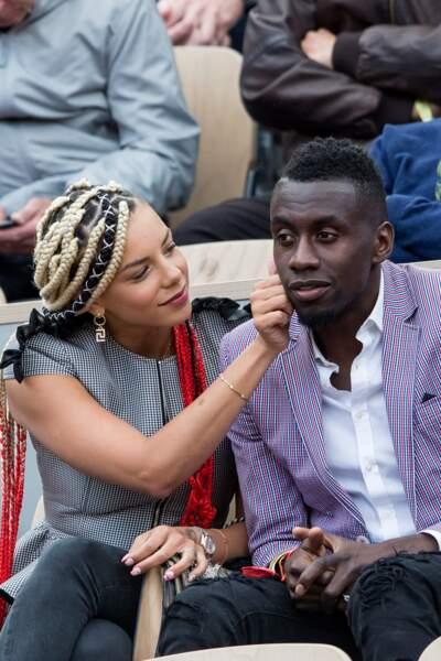 Blaise Matuidi et sa femme Isabelle dans les tribunes lors des internationaux de France de tennis de Roland Garros 2019