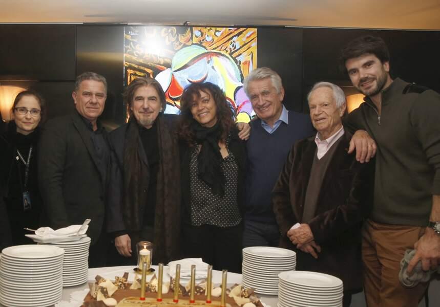 Luana Santonino, Thierry Chassagne, sa femme Marie-Hélène, Gilbert Coullier, Gérard Davoust, Frédéric Lama (fils de Serge) en 2018
