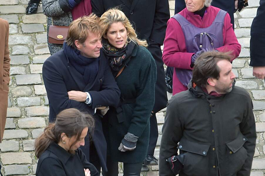Laurent Delahousse et sa compagne Alice Taglioni lors de la cérémonie hommage à Jean d'Ormesson à Paris le 8 décembre 2017
