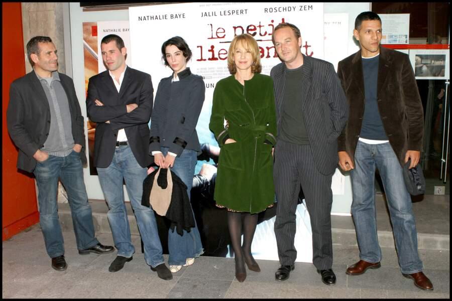 Jalil Lespert et Bérangère Allaux à Paris en 2005 avec l'équipe du film Le Petit Lieutenant de Xavier Beauvois.