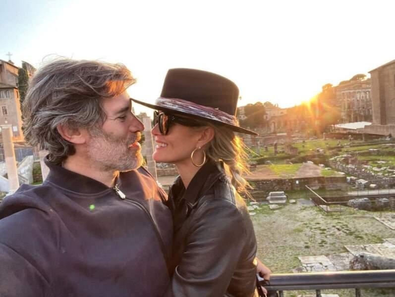 Jalil Lespert et Laeticia Hallyday à Rome.