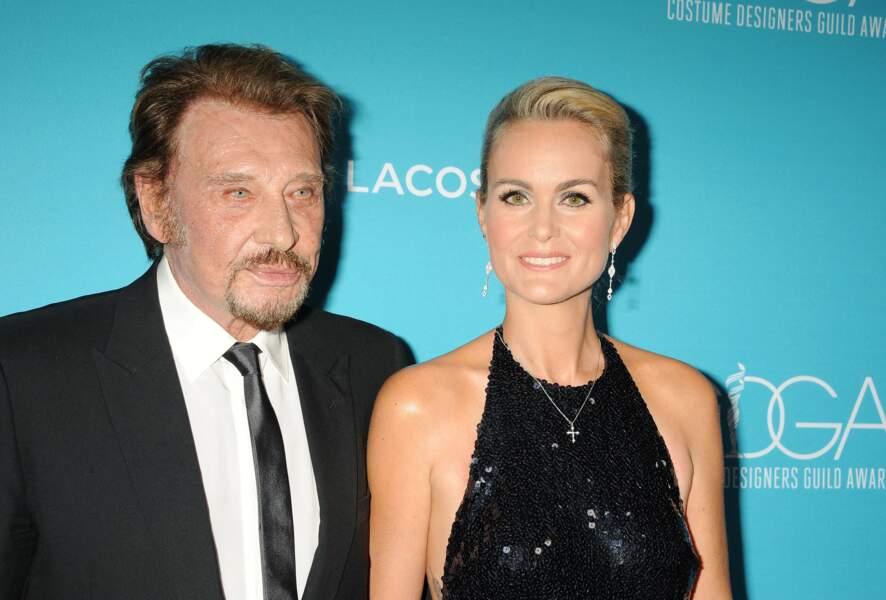 Johnny Hallyday et sa femme Laeticia à Beverly Hills en février 2015