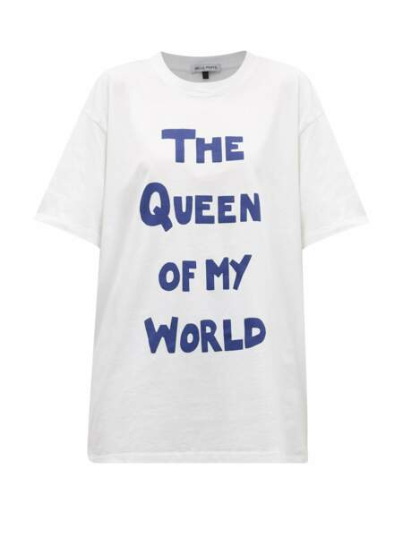 T-shirt en jersey de coton, 102€ The Queen of My World, Bella Freud  sur Matchesfashion.