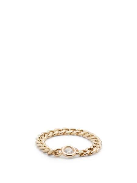 Bague en or et diamant à chaîne gourmette, 553€, Zoë Chicco sur MatchesFashion