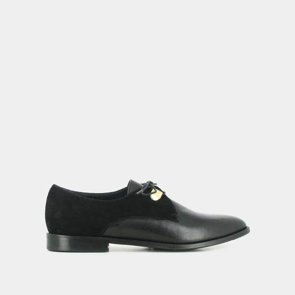 Derbies en cuir et velours noir, 80,50€, Jonak Paris