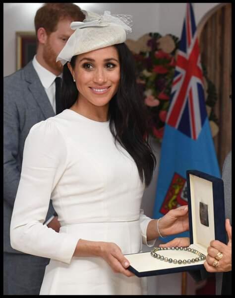 Meghan Markle, lors d'une visite auprès du président des îles Fidji, le 23 octobre 2018.