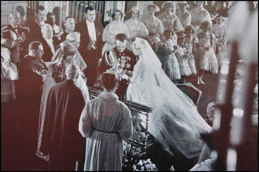 Mariage de Rainier III et de Grace de Monaco le 19 avril 1956.