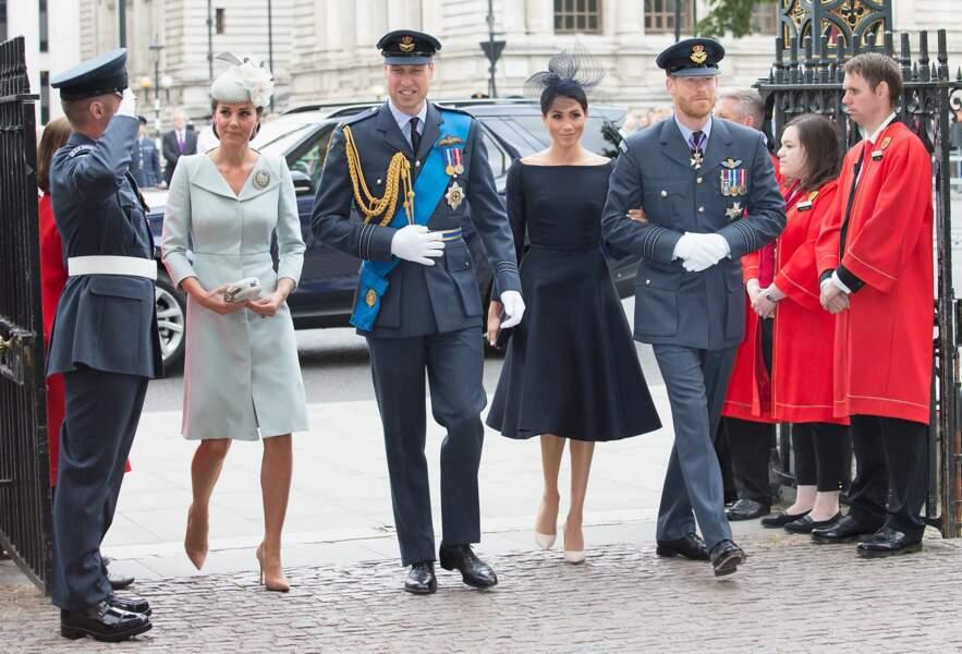 Arrivées de la famille royale d'Angleterre à l'abbaye de Westminster pour le centenaire de la RAF à Londres, le 10 juillet 2018
