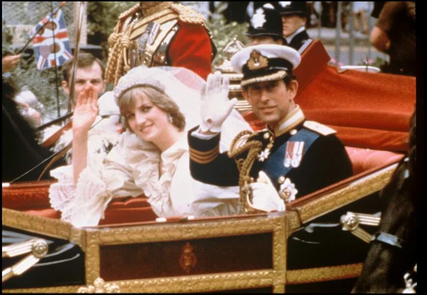 Mariage de Diana Spencer et du prince Charles à Londres en 1981.