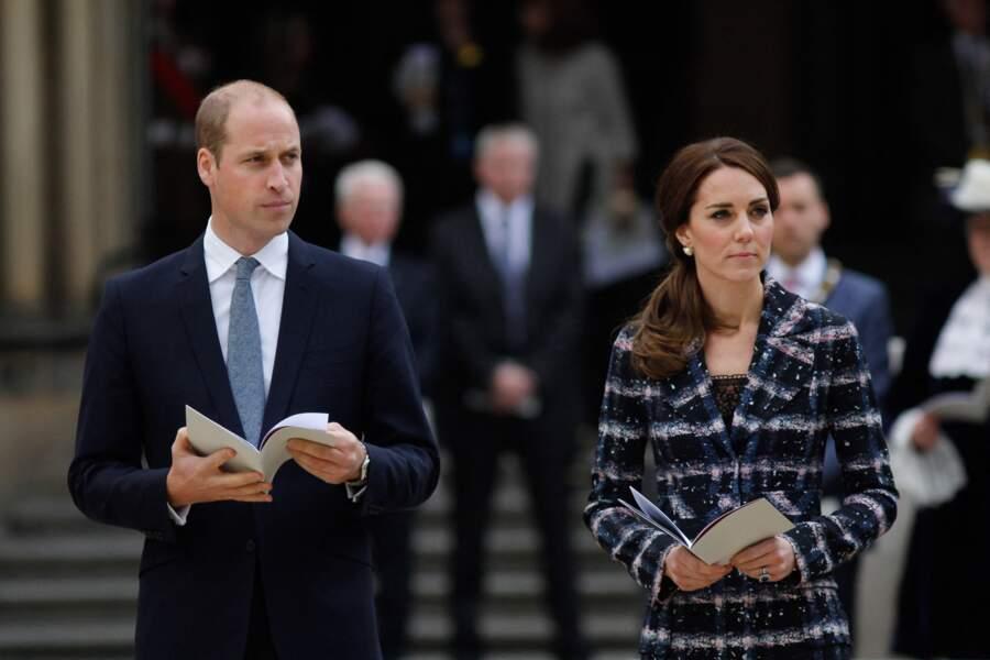 Le prince William et Kate Catherine Middleton au cénotaphe de Manchester, le 14 octobre 2016