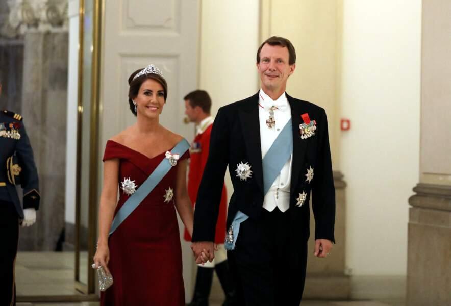 Le prince Joachim de Danemark et la princesse Marie au dîner d'Etat donné au château de Christiansborg en l'honneur de la visite du président de la République française et sa femme à Copenhague, le 29 août 2018.