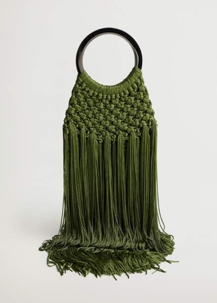 Sac motif tressé vert billard, 49,99€, Violeta by Mango